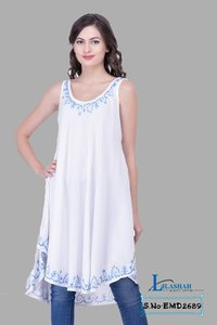 White Embroidered For Womens Party Wear Beachwear Tunics Tops