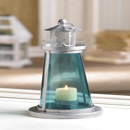 Nautical Blue Glass Lighthouse Watch Tower Candle Lantern