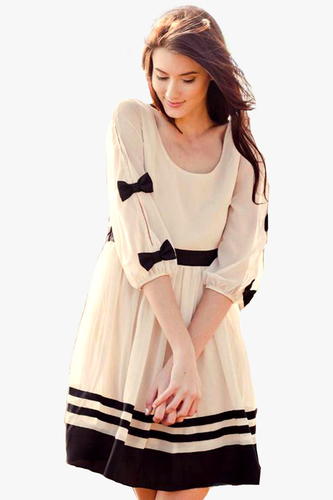 Cute Dresses With Sleeves And Bows Casual fusion wear Dresses