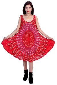 Umbrella Dress Rayon Mandala Red Color Dress