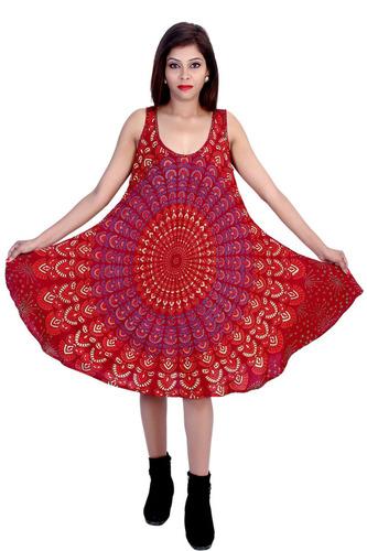 Umbrella Dress Rayon Mandala Maroon Color Dress