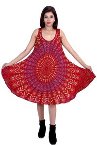 Umbrella Dress Rayon Mandala Maroon Color Dress