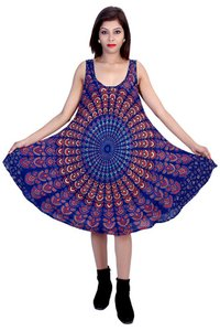 Umbrella dresses Mandala Blue Color Dress