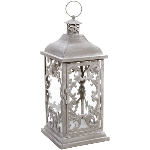 Darice 6614-032 Lantern Iron Brushed Gray 7.09 X 7.09 X 16.47IN