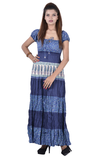 Cotton Printed and Plain Blue Color Dress