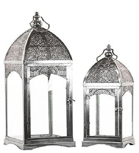 Urban Trends Metal Lantern with Ring Hanger Glass Sides