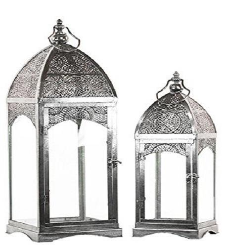 Urban Trends Metal Lantern with Ring Hanger Glass Sides