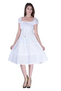 Cotton Plain White Color Dress
