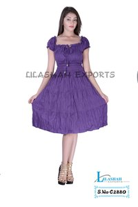 Cotton Plain Purple Color Dress