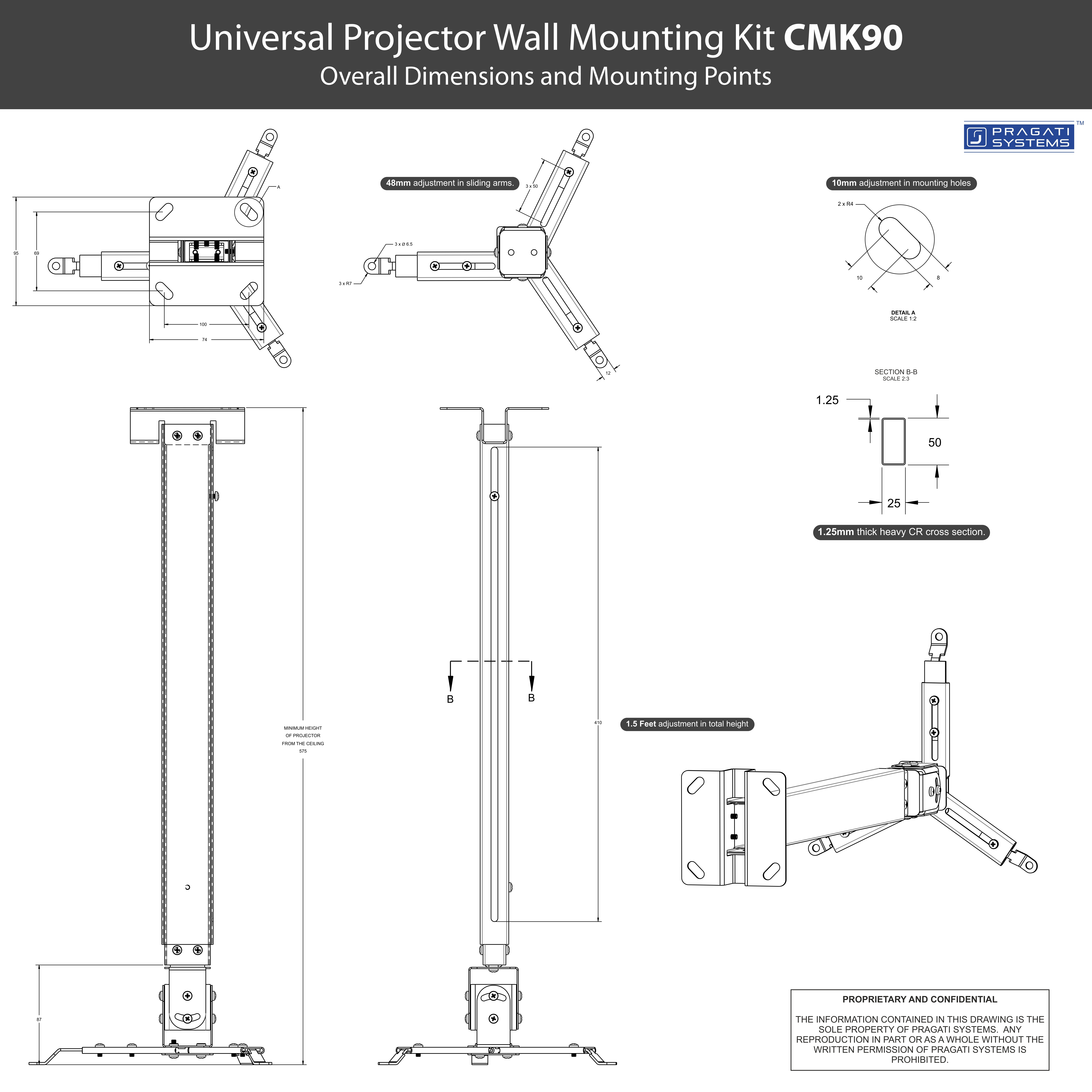 Universal Extendable Projector Ceiling Mount Kit