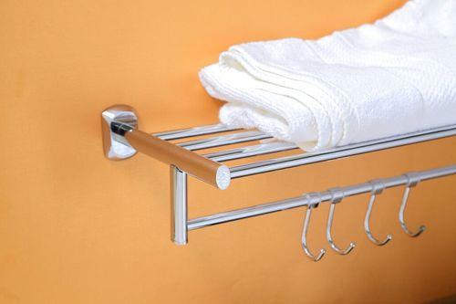 Brass Towel Shelf With Towel Bar and Hook