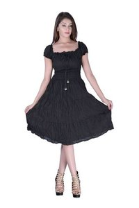 Cotton Plain Black Color Dress