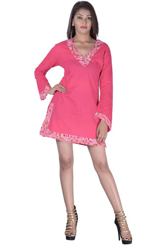 Cotton Plain Pink Color Dress