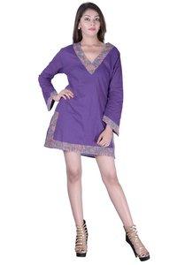 Cotton Plain Purple Color Dress