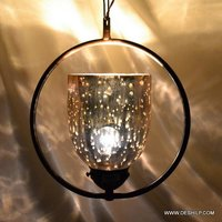 Round Fitting Silver Glass Hanging