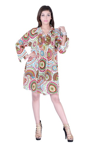 Casual Dresses Printed White Color Dress