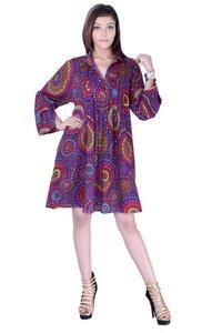 Cotton Printed Purple Color Dress