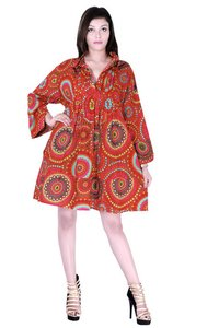 Cotton Printed Orange Color Dress
