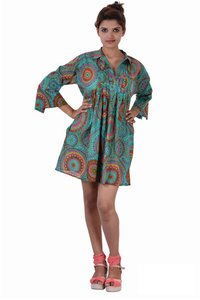 Cotton Printed C.Green Color Dress
