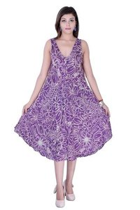 Cotton Printed Purple Color Dress