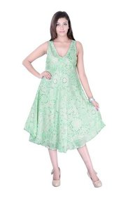 Cotton Printed Green Color Dress