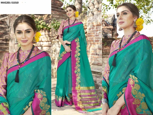 Green Slik Saree