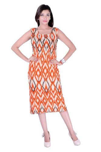 Cotton Printed Orange Color Dress