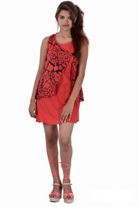 Cotton Printed Red Color Dress