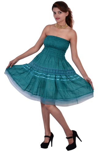 Cotton Plain C.Green Color Dress
