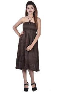 Cotton Plain Brown Color Dress
