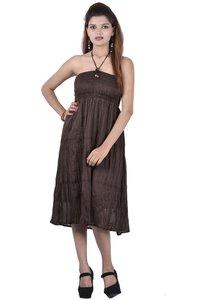 Cotton Plain Brown Color Dress
