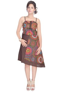 Cotton Printed Brown Color Dress