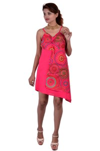 Cotton Printed Pink Color Dress
