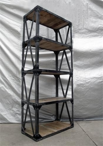 Iron Bookshelf With Cross Straps