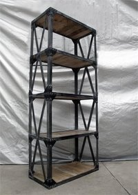 Iron Bookshelf With Cross Straps