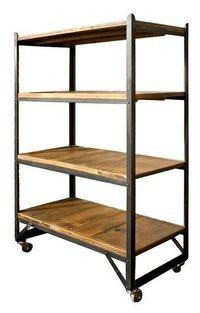 Industrial Bookshelf With Wheels