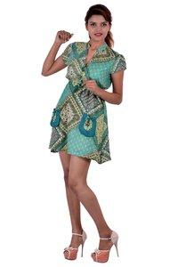 Rayon Printed C.Green Color Dress