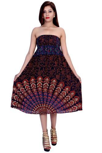 Rayon Mandala Brown Color Dress