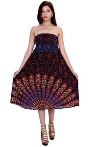 Rayon Mandala Brown Color Dress