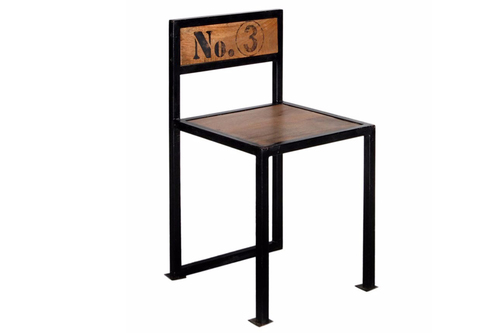 Wooden Seat & Backrest Industrial Dining Chair