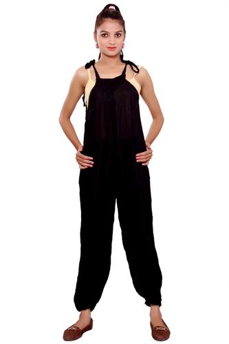 Jumpsuits for Women Jumpsuits Online Rayon Crepe Solid Black Color Jumpsuit