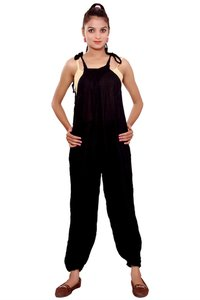 Jumpsuits for Women Jumpsuits Online Rayon Crepe Solid Black Color Jumpsuit