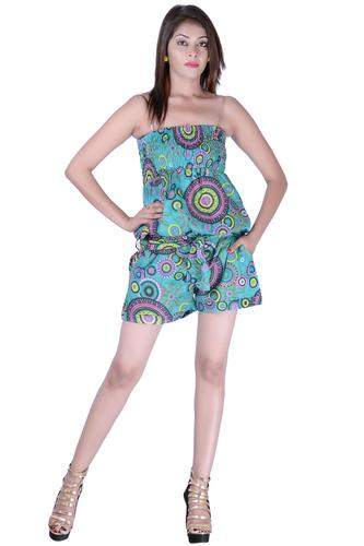 Cotton Printed Short C.Green Color Jumpsuit