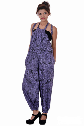 Cotton Printed Purple Color Jumpsuit