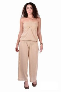 Rayon Carf Plain Brown Color Jumpsuit