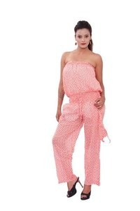 Cotton Printed Orange Color Jumpsuit