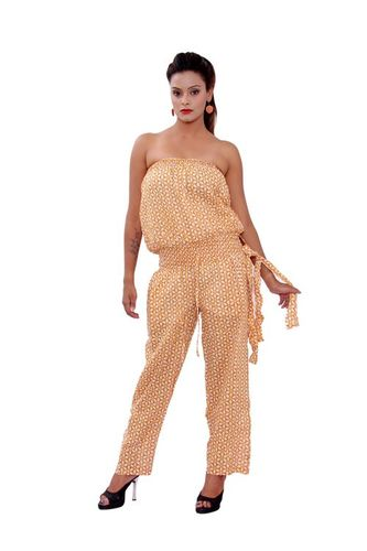 Cotton Printed Brown Color Jumpsuit