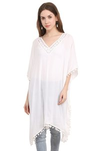 Rayon Crepe Solid Women Fit and Flare White With Lace Dress