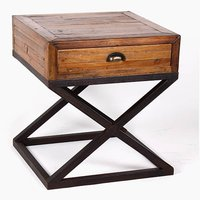 Industrial Reclaimed Wood  X Shape Base Bed Side Table