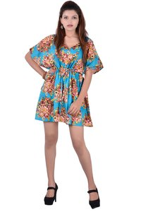 Cotton Women Sky Blue Patywear Kaftan